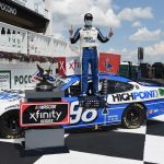 LONG POND, PENNSYLVANIA - JUNE 28:  Chase Briscoe, driver of the #98 Highpoint.com Ford, celebrates in Victory Lane after winning the NASCAR Xfinity Series Pocono Green 225 Recycled by J.P. Mascaro & Sons at Pocono Raceway on June 28, 2020 in Long Pond, Pennsylvania. (Photo by Jared C. Tilton/Getty Images) | Getty Images