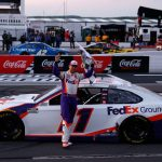 LONG POND, PENNSYLVANIA - JUNE 28: Denny Hamlin, driver of the #11 FedEx Ground Toyota, celebrates after winning the NASCAR Cup Series Pocono 350 at Pocono Raceway on June 28, 2020 in Long Pond, Pennsylvania. (Photo by Patrick Smith/Getty Images) | Getty Images