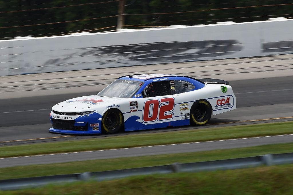 LONG POND, PENNSYLVANIA - JUNE 28: Brett Moffitt, driver of the #02 Cape Cod Aggregaets Corp Chevrolet, drives during the NASCAR Xfinity Series Pocono Green 225 Recycled by J.P. Mascaro & Sons at Pocono Raceway on June 28, 2020 in Long Pond, Pennsylvania. (Photo by Jared C. Tilton/Getty Images) | Getty Images