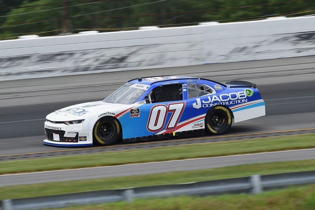 LONG POND, PENNSYLVANIA - JUNE 28: Carson Ware, driver of the #07 Jacob Construction Chevrolet, drives during the NASCAR Xfinity Series Pocono Green 225 Recycled by J.P. Mascaro & Sons at Pocono Raceway on June 28, 2020 in Long Pond, Pennsylvania. (Photo by Jared C. Tilton/Getty Images) | Getty Images