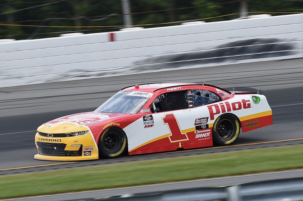 LONG POND, PENNSYLVANIA - JUNE 28: Michael Annett, driver of the #1 Pilot/Flying J Chevrolet, drives during the NASCAR Xfinity Series Pocono Green 225 Recycled by J.P. Mascaro & Sons at Pocono Raceway on June 28, 2020 in Long Pond, Pennsylvania. (Photo by Jared C. Tilton/Getty Images) | Getty Images