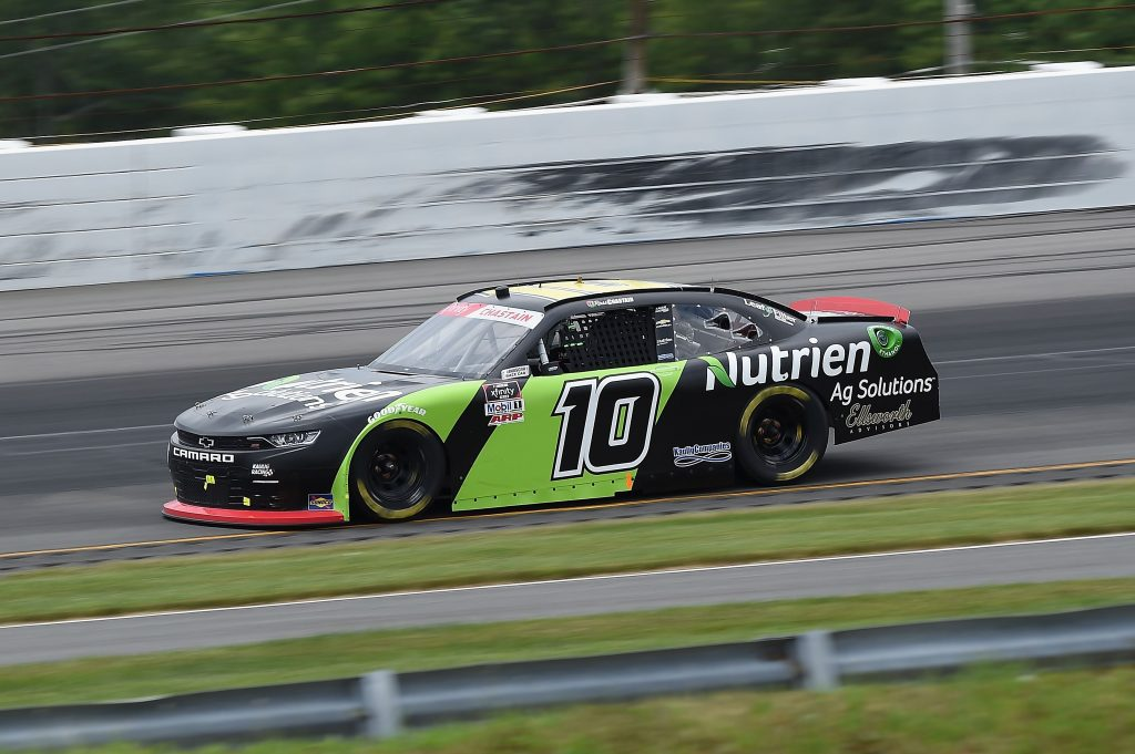 LONG POND, PENNSYLVANIA - JUNE 28: Ross Chastain, driver of the #10 Nutrien Ag Solutions Chevrolet, drives during the NASCAR Xfinity Series Pocono Green 225 Recycled by J.P. Mascaro & Sons at Pocono Raceway on June 28, 2020 in Long Pond, Pennsylvania. (Photo by Jared C. Tilton/Getty Images) | Getty Images