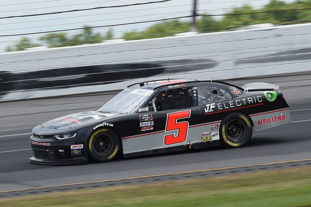 LONG POND, PENNSYLVANIA - JUNE 28: Matt Mills, driver of the #5 J.F. Electric Chevrolet, drives during the NASCAR Xfinity Series Pocono Green 225 Recycled by J.P. Mascaro & Sons at Pocono Raceway on June 28, 2020 in Long Pond, Pennsylvania. (Photo by Jared C. Tilton/Getty Images) | Getty Images