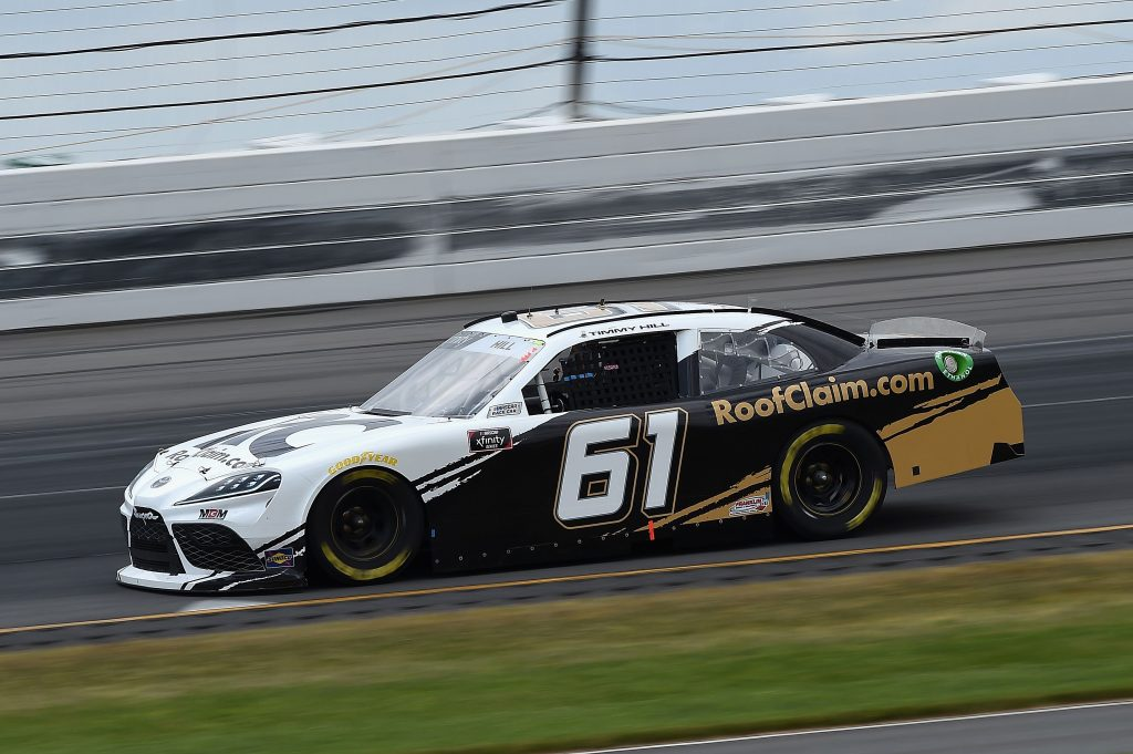 LONG POND, PENNSYLVANIA - JUNE 28: Timmy Hill, driver of the #61 ROOFCLAIM.COM Toyota, drives during the NASCAR Xfinity Series Pocono Green 225 Recycled by J.P. Mascaro & Sons at Pocono Raceway on June 28, 2020 in Long Pond, Pennsylvania. (Photo by Jared C. Tilton/Getty Images) | Getty Images