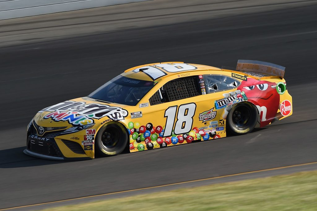 LONG POND, PENNSYLVANIA - JUNE 28: Kyle Busch, driver of the #18 M&M's Mini's Toyota, during the NASCAR Cup Series Pocono 350 at Pocono Raceway on June 28, 2020 in Long Pond, Pennsylvania. (Photo by Jared C. Tilton/Getty Images) | Getty Images