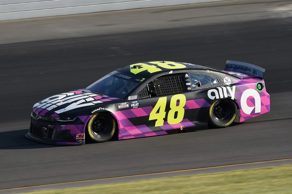 LONG POND, PENNSYLVANIA - JUNE 28: Jimmie Johnson, driver of the #48 Ally Chevrolet, during the NASCAR Cup Series Pocono 350 at Pocono Raceway on June 28, 2020 in Long Pond, Pennsylvania. (Photo by Jared C. Tilton/Getty Images) | Getty Images