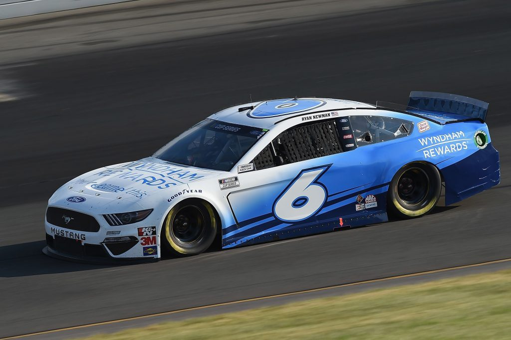 LONG POND, PENNSYLVANIA - JUNE 28: Ryan Newman, driver of the #6 Wyndham Rewards Ford, during the NASCAR Cup Series Pocono 350 at Pocono Raceway on June 28, 2020 in Long Pond, Pennsylvania. (Photo by Jared C. Tilton/Getty Images) | Getty Images