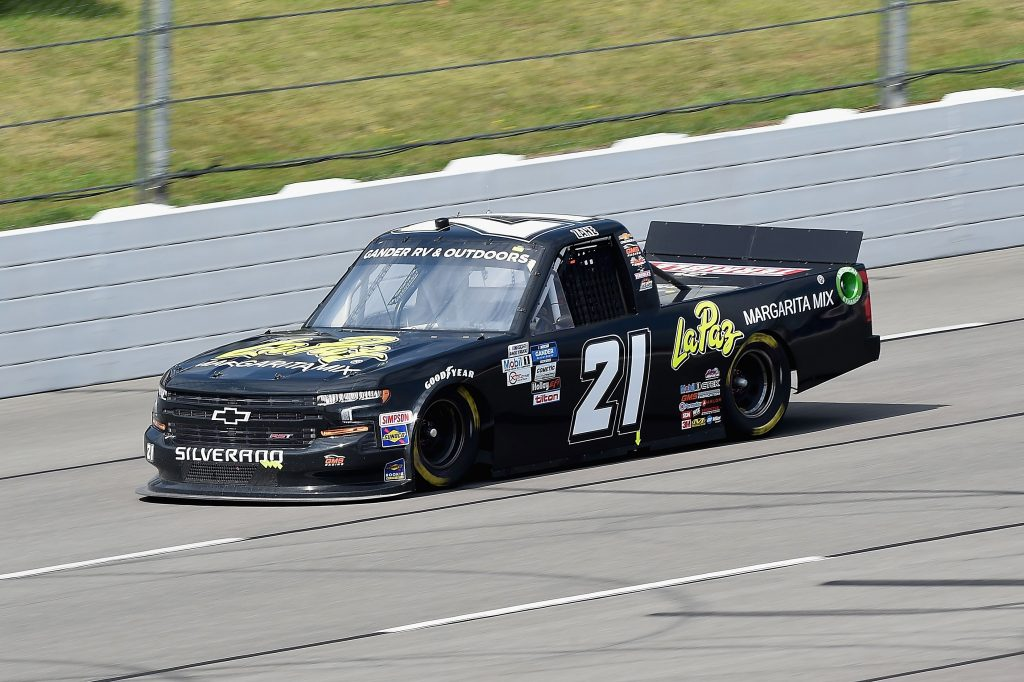 LONG POND, PENNSYLVANIA - JUNE 28: Zane Smith, driver of the #21 LaPaz Margarita Mix Chevrolet, drives during the NASCAR Gander RV & Outdoors Truck Series Pocono Organics 150 to benefit Farm Aid at Pocono Raceway on June 28, 2020 in Long Pond, Pennsylvania. (Photo by Jared C. Tilton/Getty Images) | Getty Images