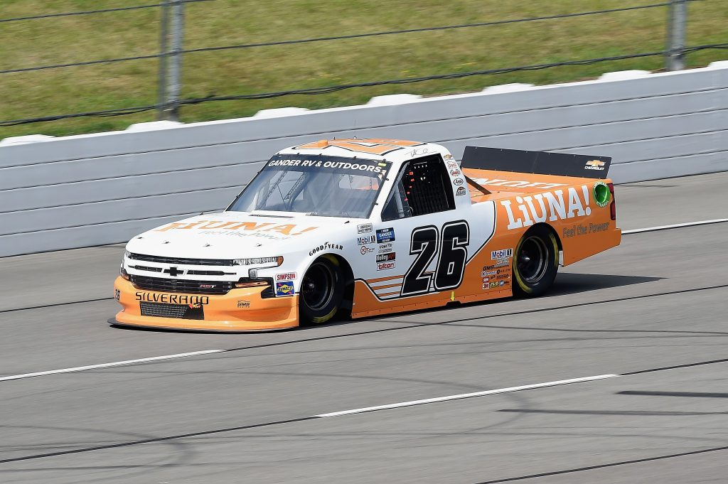 LONG POND, PENNSYLVANIA - JUNE 28: Tyler Ankrum, driver of the #26 Liuna! Chevrolet, drives during the NASCAR Gander RV & Outdoors Truck Series Pocono Organics 150 to benefit Farm Aid at Pocono Raceway on June 28, 2020 in Long Pond, Pennsylvania. (Photo by Jared C. Tilton/Getty Images) | Getty Images