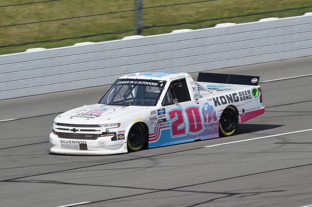 LONG POND, PENNSYLVANIA - JUNE 28: Spencer Boyd, driver of the #20 Kong Beer Bong Chevrolet, drives during the NASCAR Gander RV & Outdoors Truck Series Pocono Organics 150 to benefit Farm Aid at Pocono Raceway on June 28, 2020 in Long Pond, Pennsylvania. (Photo by Jared C. Tilton/Getty Images) | Getty Images