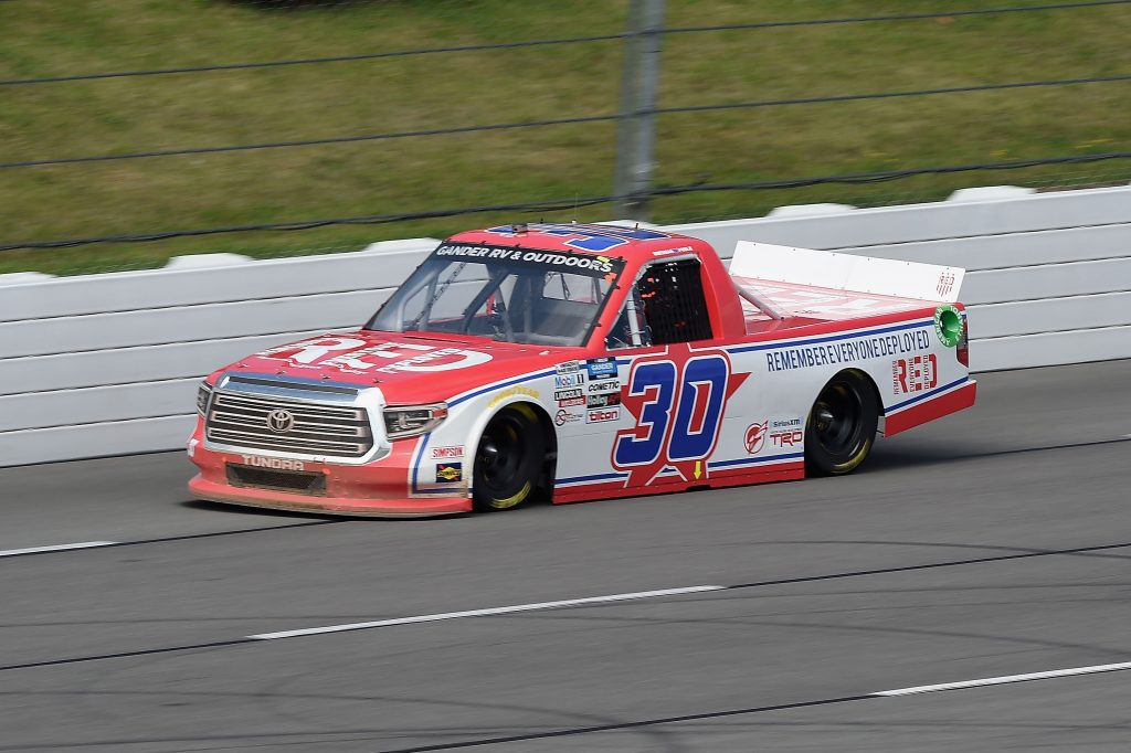 LONG POND, PENNSYLVANIA - JUNE 28: Brennan Poole, driver of the #30 RememberEveryoneDeployed.org Toyota, drives during the NASCAR Gander RV & Outdoors Truck Series Pocono Organics 150 to benefit Farm Aid at Pocono Raceway on June 28, 2020 in Long Pond, Pennsylvania. (Photo by Jared C. Tilton/Getty Images) | Getty Images