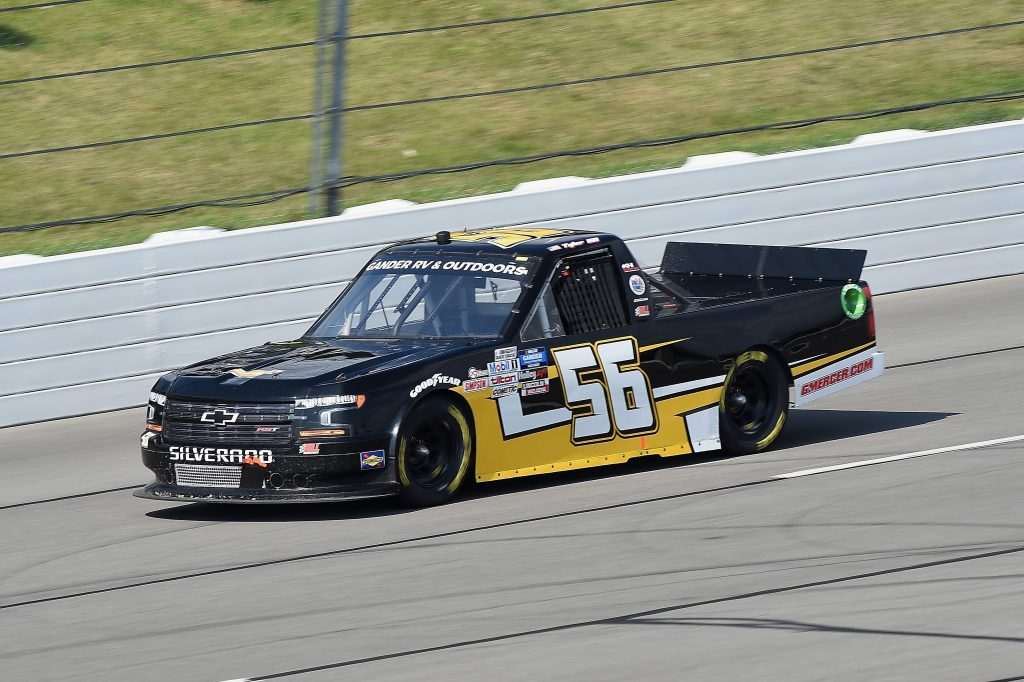 LONG POND, PENNSYLVANIA - JUNE 28: Tyler Hill, driver of the #56 Hill Motorsports Chevrolet, drives during the NASCAR Gander RV & Outdoors Truck Series Pocono Organics 150 to benefit Farm Aid at Pocono Raceway on June 28, 2020 in Long Pond, Pennsylvania. (Photo by Jared C. Tilton/Getty Images) | Getty Images