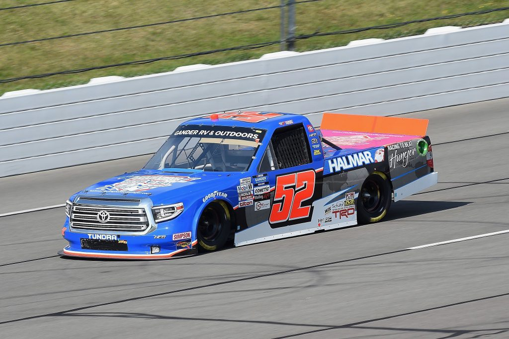 LONG POND, PENNSYLVANIA - JUNE 28: Stewart Friesen, driver of the #52 Halmar Racing To Beat Hunger Toyota, drives during the NASCAR Gander RV & Outdoors Truck Series Pocono Organics 150 to benefit Farm Aid at Pocono Raceway on June 28, 2020 in Long Pond, Pennsylvania. (Photo by Jared C. Tilton/Getty Images) | Getty Images