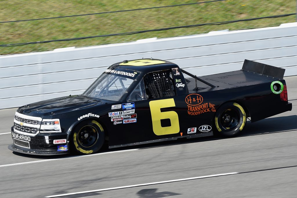 LONG POND, PENNSYLVANIA - JUNE 28: Norm Benning, driver of the #6 H & H Transport Chevrolet, drives during the NASCAR Gander RV & Outdoors Truck Series Pocono Organics 150 to benefit Farm Aid at Pocono Raceway on June 28, 2020 in Long Pond, Pennsylvania. (Photo by Jared C. Tilton/Getty Images) | Getty Images