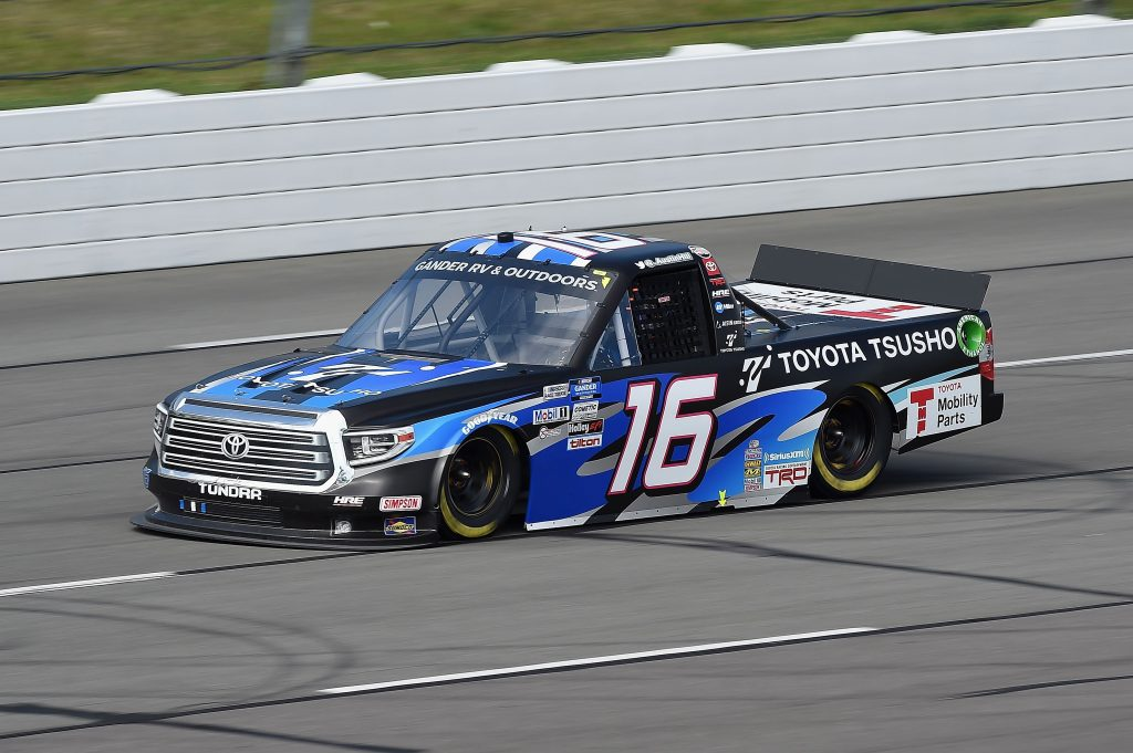 LONG POND, PENNSYLVANIA - JUNE 28: Austin Hill, driver of the #16 Touota Tsusho Toyota, drives during the NASCAR Gander RV & Outdoors Truck Series Pocono Organics 150 to benefit Farm Aid at Pocono Raceway on June 28, 2020 in Long Pond, Pennsylvania. (Photo by Jared C. Tilton/Getty Images) | Getty Images