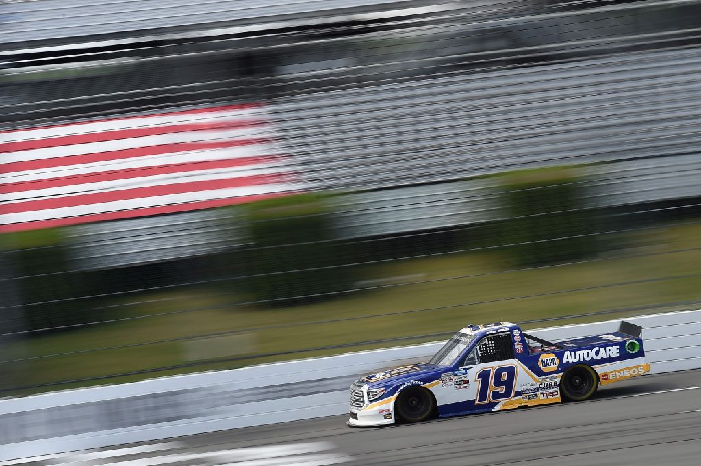 LONG POND, PENNSYLVANIA - JUNE 28: Derek Kraus, driver of the #19 NAPA AUTOCARE Toyota, drives during the NASCAR Gander RV & Outdoors Truck Series Pocono Organics 150 to benefit Farm Aid at Pocono Raceway on June 28, 2020 in Long Pond, Pennsylvania. (Photo by Jared C. Tilton/Getty Images) | Getty Images