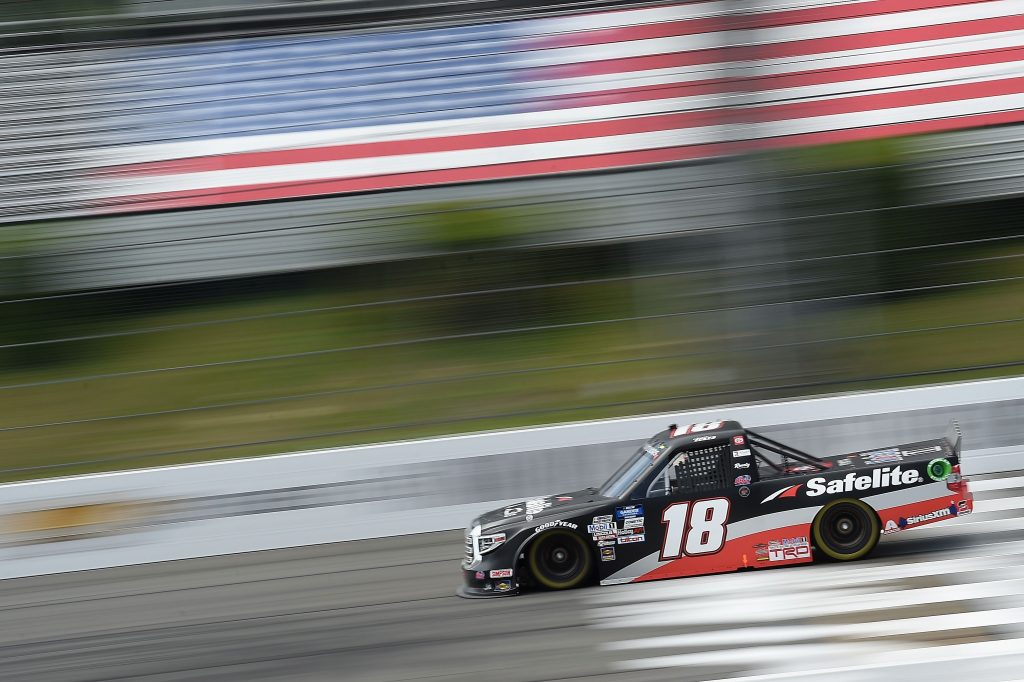 LONG POND, PENNSYLVANIA - JUNE 28: Christian Eckes, driver of the #18 Safelite AutoGlass Toyota, drives during the NASCAR Gander RV & Outdoors Truck Series Pocono Organics 150 to benefit Farm Aid at Pocono Raceway on June 28, 2020 in Long Pond, Pennsylvania. (Photo by Jared C. Tilton/Getty Images) | Getty Images