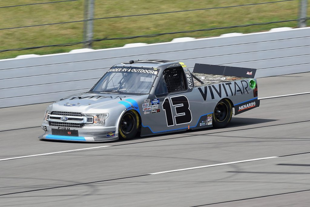 LONG POND, PENNSYLVANIA - JUNE 28: Johnny Sauter, driver of the #13 Ford, drives during the NASCAR Gander RV & Outdoors Truck Series Pocono Organics 150 to benefit Farm Aid at Pocono Raceway on June 28, 2020 in Long Pond, Pennsylvania. (Photo by Jared C. Tilton/Getty Images) | Getty Images