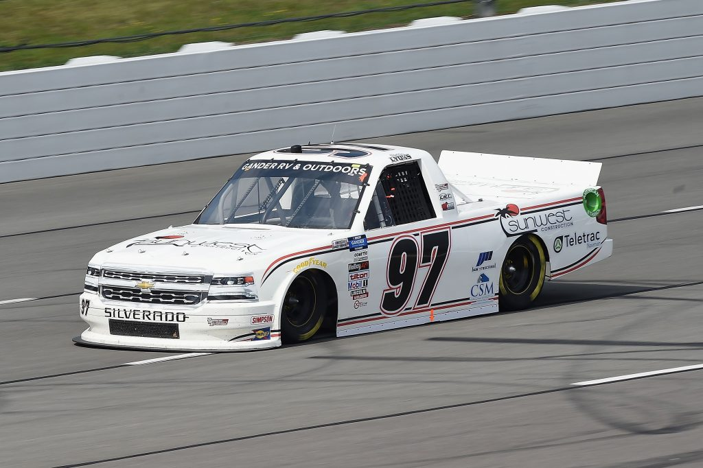LONG POND, PENNSYLVANIA - JUNE 28: Robby Lyons II, driver of the #97 Sunwest Construction Chevrolet, drives during the NASCAR Gander RV & Outdoors Truck Series Pocono Organics 150 to benefit Farm Aid at Pocono Raceway on June 28, 2020 in Long Pond, Pennsylvania. (Photo by Jared C. Tilton/Getty Images) | Getty Images