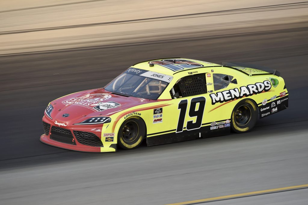 SPARTA, KENTUCKY - JULY 10: Brandon Jones, driver of the #19 Menards/Atlas Toyota, drives during the NASCAR Xfinity Series Alsco 300 at Kentucky Speedway on July 10, 2020 in Sparta, Kentucky. (Photo by Jared C. Tilton/Getty Images) | Getty Images