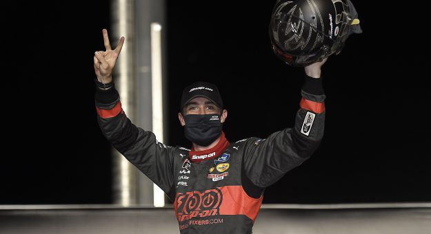 SPARTA, KENTUCKY - JULY 10: Austin Cindric, driver of the #22 Snap-On Ford, celebrates in Victory Lane after winning  the NASCAR Xfinity Series Alsco 300 at Kentucky Speedway on July 10, 2020 in Sparta, Kentucky. (Photo by Jared C. Tilton/Getty Images) | Getty Images
