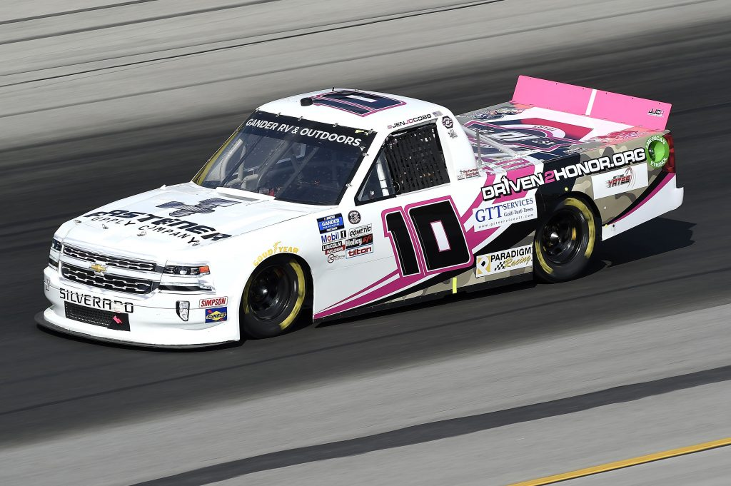 SPARTA, KENTUCKY - JULY 11: Jennifer Jo Cobb, driver of the #10 Fastener Supply Company Chevrolet, drives during the NASCAR Gander RV & Outdoors Truck Series Buckle Up In Your Truck 225 at Kentucky Speedway on July 11, 2020 in Sparta, Kentucky. (Photo by Jared C. Tilton/Getty Images) | Getty Images