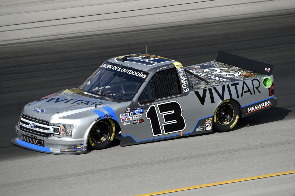 SPARTA, KENTUCKY - JULY 11: Johnny Sauter, driver of the #13 Vivitar Ford, drives during the NASCAR Gander RV & Outdoors Truck Series Buckle Up In Your Truck 225 at Kentucky Speedway on July 11, 2020 in Sparta, Kentucky. (Photo by Jared C. Tilton/Getty Images) | Getty Images