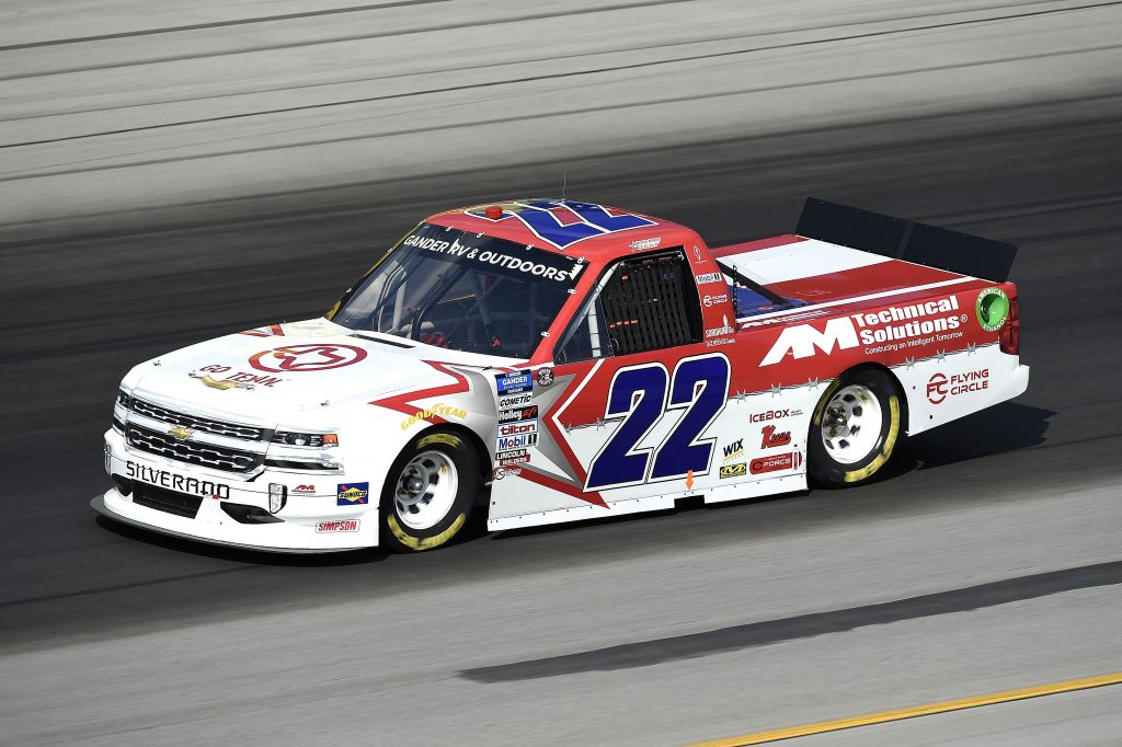 SPARTA, KENTUCKY - JULY 11: Austin Wayne Self, driver of the #22 GO TEXAN/AM Technical Solutions Chevrolet, drives during the NASCAR Gander RV & Outdoors Truck Series Buckle Up In Your Truck 225 at Kentucky Speedway on July 11, 2020 in Sparta, Kentucky. (Photo by Jared C. Tilton/Getty Images) | Getty Images