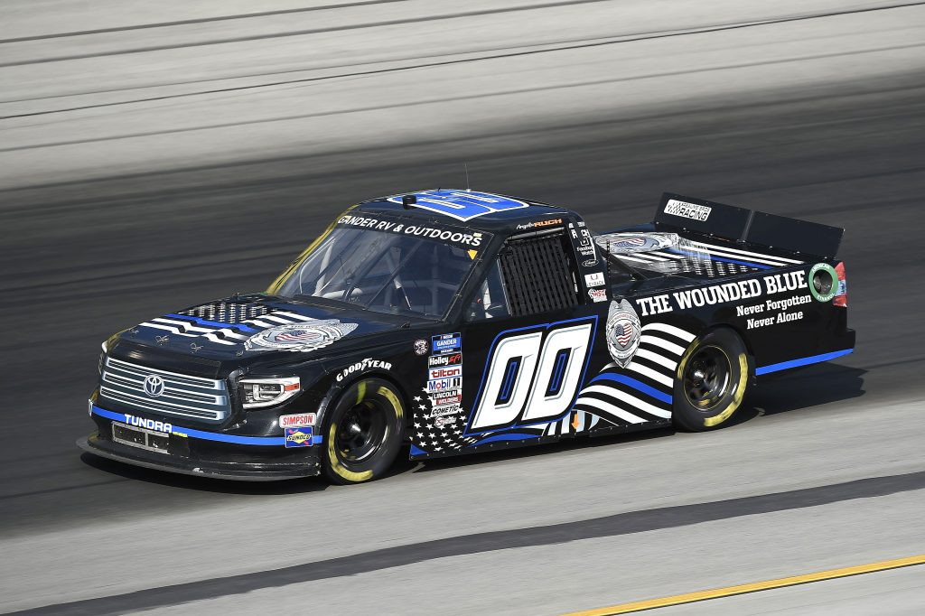SPARTA, KENTUCKY - JULY 11: Angela Ruch, driver of the #00 Toyota, drives during the NASCAR Gander RV & Outdoors Truck Series Buckle Up In Your Truck 225 at Kentucky Speedway on July 11, 2020 in Sparta, Kentucky. (Photo by Jared C. Tilton/Getty Images) | Getty Images