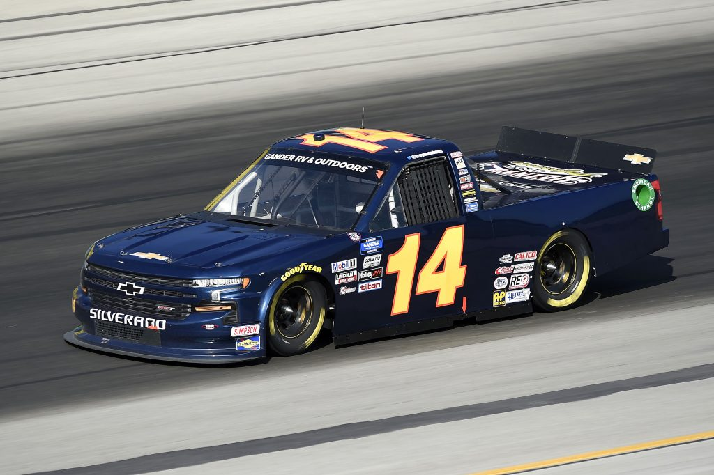 SPARTA, KENTUCKY - JULY 11: Trey Hutchens III, driver of the #14 Chevrolet, drives during the NASCAR Gander RV & Outdoors Truck Series Buckle Up In Your Truck 225 at Kentucky Speedway on July 11, 2020 in Sparta, Kentucky. (Photo by Jared C. Tilton/Getty Images) | Getty Images