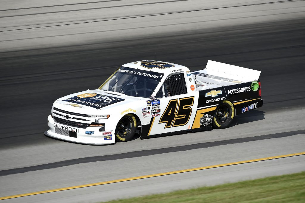 SPARTA, KENTUCKY - JULY 11: Ty Majeski, driver of the #45 Chevrolet Accessories Chevrolet, drives during the NASCAR Gander RV & Outdoors Truck Series Buckle Up In Your Truck 225 at Kentucky Speedway on July 11, 2020 in Sparta, Kentucky. (Photo by Jared C. Tilton/Getty Images) | Getty Images