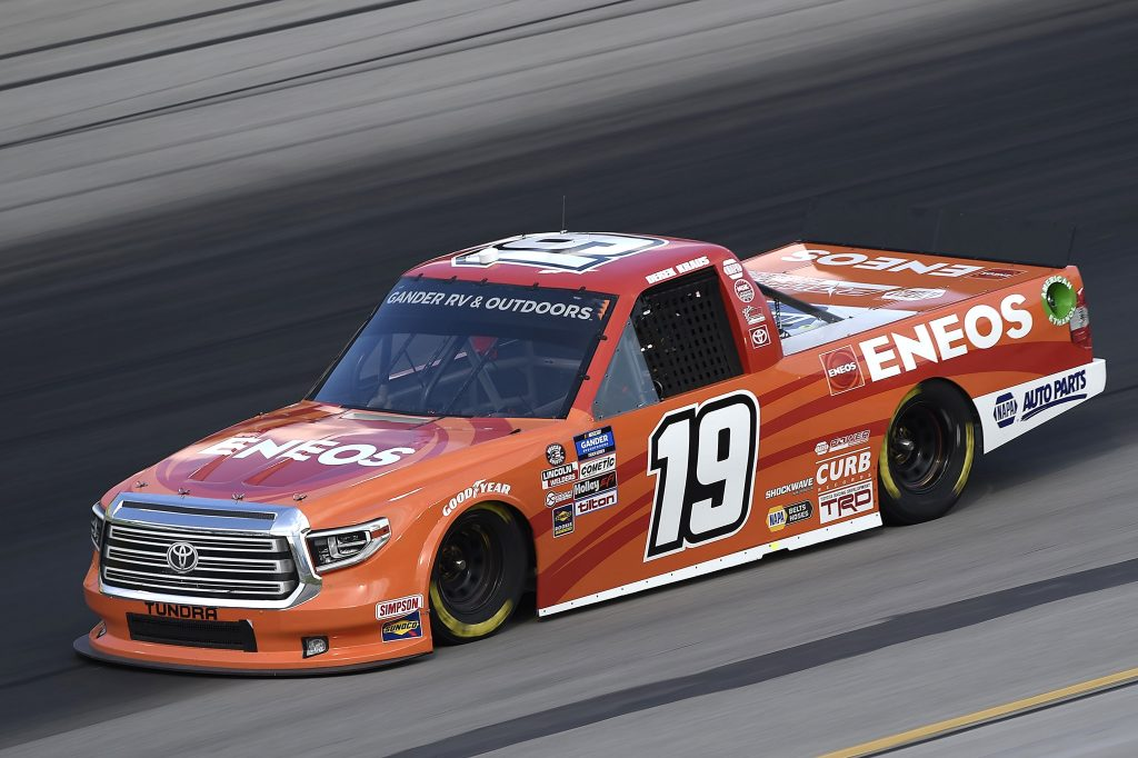 SPARTA, KENTUCKY - JULY 11: Derek Kraus, driver of the #19 ENEOS Toyota, drives during the NASCAR Gander RV & Outdoors Truck Series Buckle Up In Your Truck 225 at Kentucky Speedway on July 11, 2020 in Sparta, Kentucky. (Photo by Jared C. Tilton/Getty Images) | Getty Images