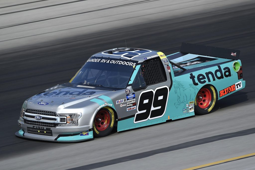 SPARTA, KENTUCKY - JULY 11: Ben Rhodes, driver of the #99 Tenda Ford, drives during the NASCAR Gander RV & Outdoors Truck Series Buckle Up In Your Truck 225 at Kentucky Speedway on July 11, 2020 in Sparta, Kentucky. (Photo by Jared C. Tilton/Getty Images) | Getty Images