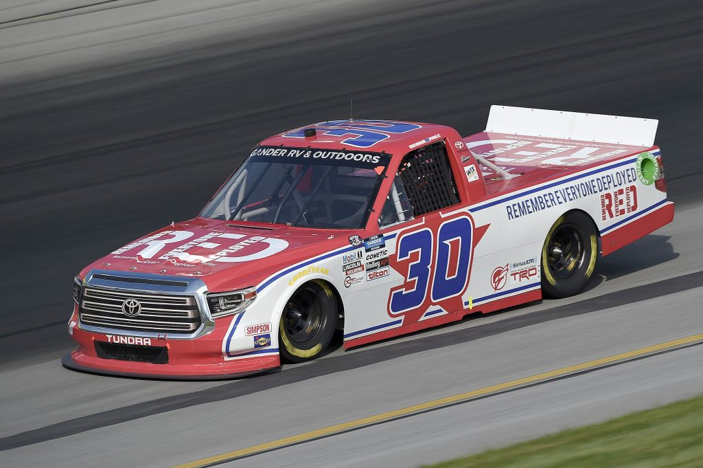 SPARTA, KENTUCKY - JULY 11: Brennan Poole, driver of the #30 RememberEveryoneDeployed.org Toyota, drives during the NASCAR Gander RV & Outdoors Truck Series Buckle Up In Your Truck 225 at Kentucky Speedway on July 11, 2020 in Sparta, Kentucky. (Photo by Jared C. Tilton/Getty Images) | Getty Images