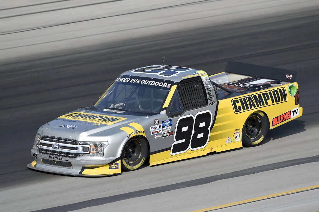 SPARTA, KENTUCKY - JULY 11: Grant Enfinger, driver of the #98 Champion Power Equipment Ford, drives during the NASCAR Gander RV & Outdoors Truck Series Buckle Up In Your Truck 225 at Kentucky Speedway on July 11, 2020 in Sparta, Kentucky. (Photo by Jared C. Tilton/Getty Images) | Getty Images