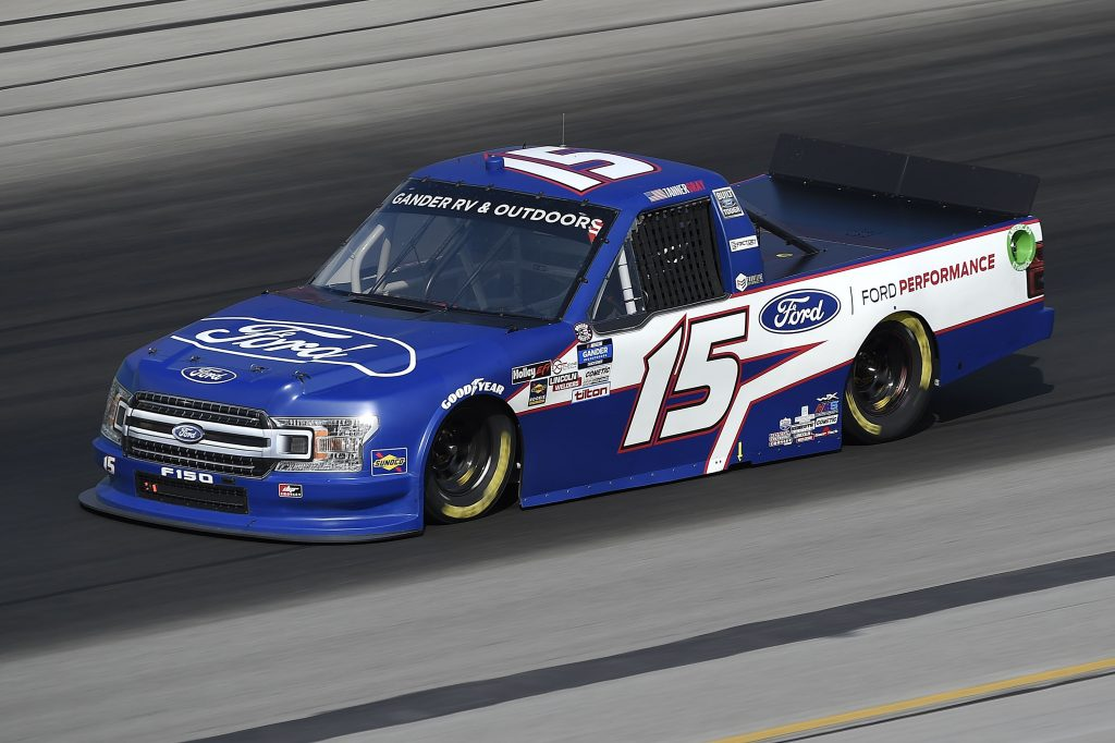SPARTA, KENTUCKY - JULY 11: Tanner Gray, driver of the #15 Ford/Ford Performance Ford, drives during the NASCAR Gander RV & Outdoors Truck Series Buckle Up In Your Truck 225 at Kentucky Speedway on July 11, 2020 in Sparta, Kentucky. (Photo by Jared C. Tilton/Getty Images) | Getty Images