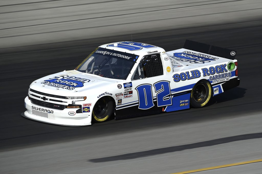 SPARTA, KENTUCKY - JULY 11: Tate Fogleman, driver of the #02 Solid Rock Carriers Chevrolet, drives during the NASCAR Gander RV & Outdoors Truck Series Buckle Up In Your Truck 225 at Kentucky Speedway on July 11, 2020 in Sparta, Kentucky. (Photo by Jared C. Tilton/Getty Images) | Getty Images