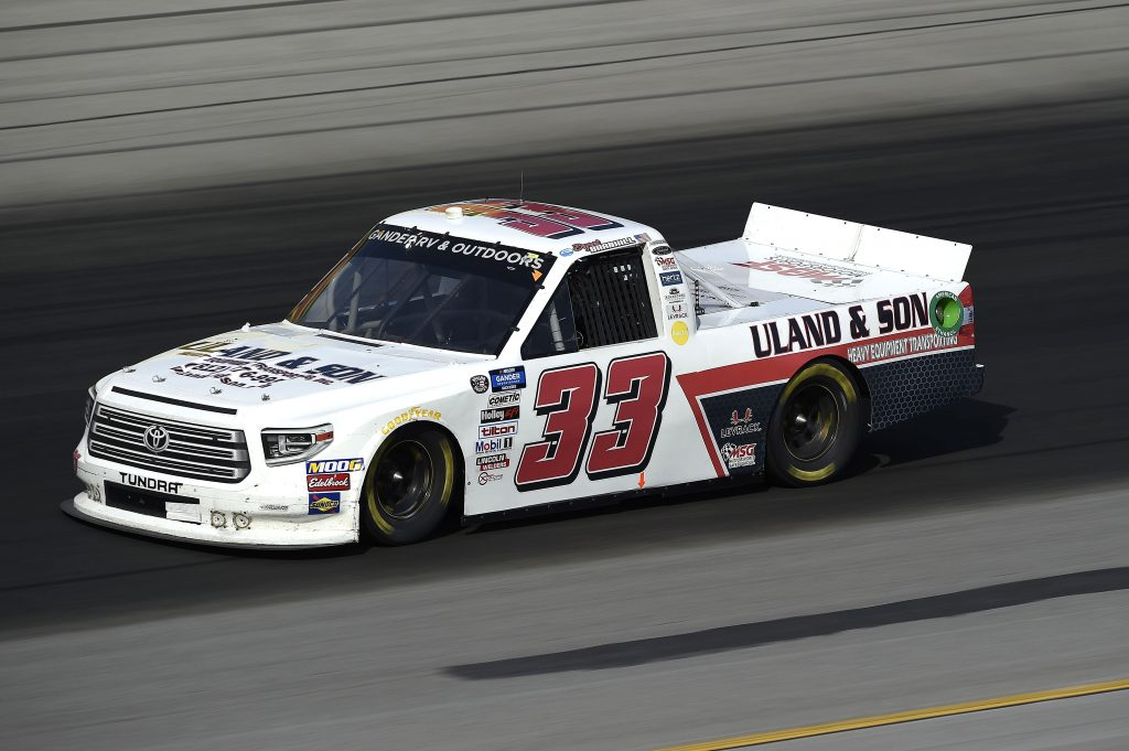 SPARTA, KENTUCKY - JULY 11: Bryant Barnhill, driver of the #33 Toyota, drives during the NASCAR Gander RV & Outdoors Truck Series Buckle Up In Your Truck 225 at Kentucky Speedway on July 11, 2020 in Sparta, Kentucky. (Photo by Jared C. Tilton/Getty Images) | Getty Images