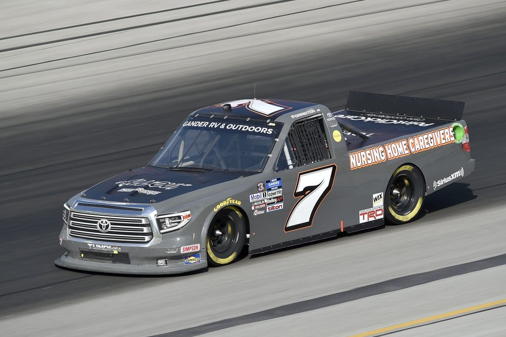 SPARTA, KENTUCKY - JULY 11: Korbin Forrister, driver of the #7 Nursing Home Heroes Toyota, drives during the NASCAR Gander RV & Outdoors Truck Series Buckle Up In Your Truck 225 at Kentucky Speedway on July 11, 2020 in Sparta, Kentucky. (Photo by Jared C. Tilton/Getty Images) | Getty Images