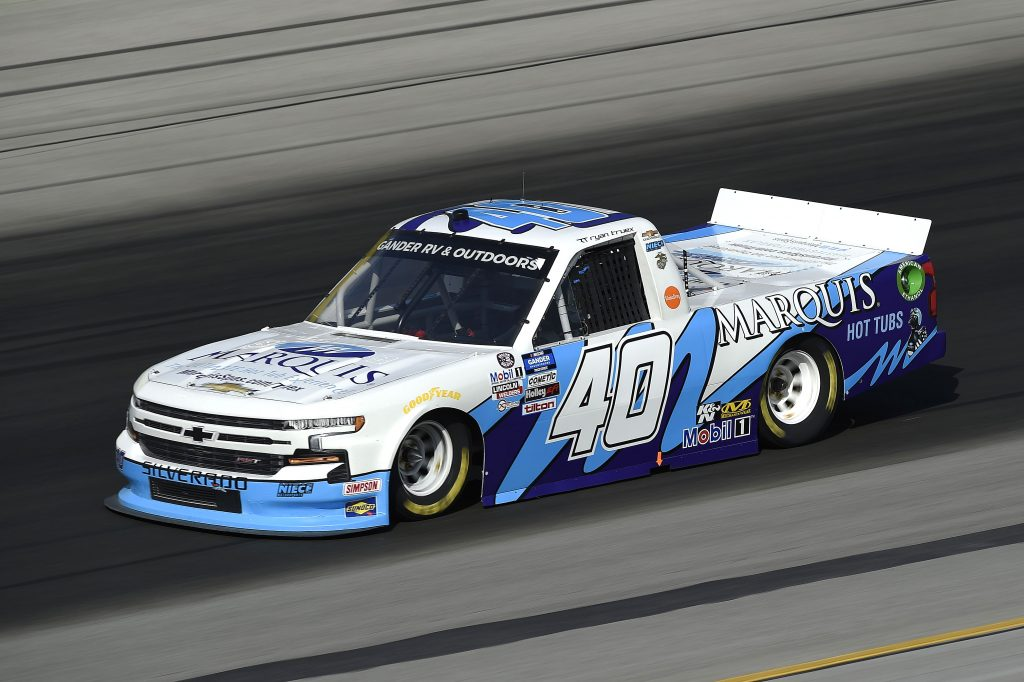 SPARTA, KENTUCKY - JULY 11: Ryan Truex, driver of the #40 Marquis Chevrolet, drives during the NASCAR Gander RV & Outdoors Truck Series Buckle Up In Your Truck 225 at Kentucky Speedway on July 11, 2020 in Sparta, Kentucky. (Photo by Jared C. Tilton/Getty Images) | Getty Images