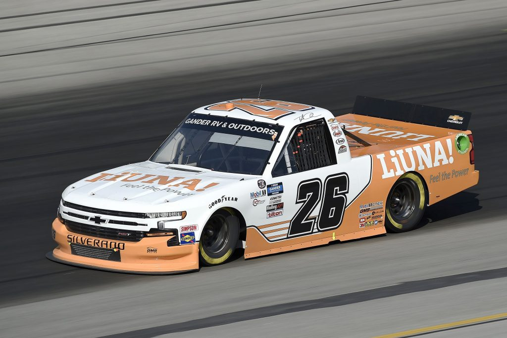 SPARTA, KENTUCKY - JULY 11: Tyler Ankrum, driver of the #26 Liuna! Chevrolet dives during the NASCAR Gander RV & Outdoors Truck Series Buckle Up In Your Truck 225 at Kentucky Speedway on July 11, 2020 in Sparta, Kentucky. (Photo by Jared C. Tilton/Getty Images) | Getty Images