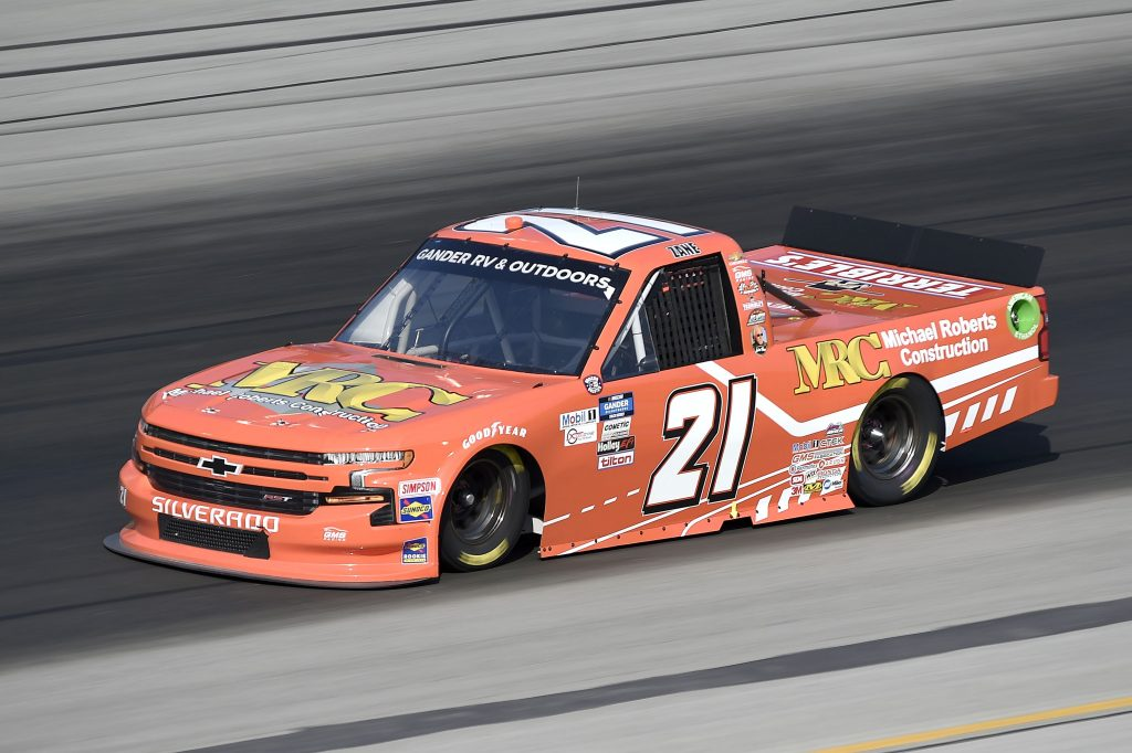 SPARTA, KENTUCKY - JULY 11: Zane Smith, driver of the #21 LaPaz Margarita Mix Chevrolet, drives during the NASCAR Gander RV & Outdoors Truck Series Buckle Up In Your Truck 225 at Kentucky Speedway on July 11, 2020 in Sparta, Kentucky. (Photo by Jared C. Tilton/Getty Images) | Getty Images