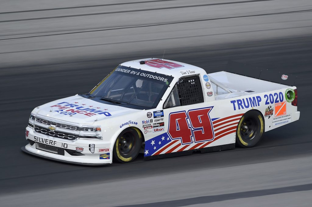 SPARTA, KENTUCKY - JULY 11: Tim Viens, driver of the #49 CMI Motorsports Chevrolet, drives during the NASCAR Gander RV & Outdoors Truck Series Buckle Up In Your Truck 225 at Kentucky Speedway on July 11, 2020 in Sparta, Kentucky. (Photo by Jared C. Tilton/Getty Images) | Getty Images