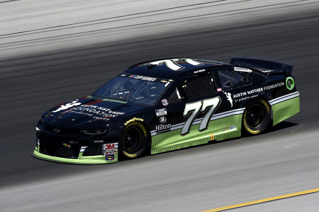 SPARTA, KENTUCKY - JULY 12: Josh Bilicki, driver of the #77 Austin Hatcher Foundation Chevrolet, drives during the NASCAR Cup Series Quaker State 400 Presented by Walmart at Kentucky Speedway on July 12, 2020 in Sparta, Kentucky. (Photo by Jared C. Tilton/Getty Images) | Getty Images