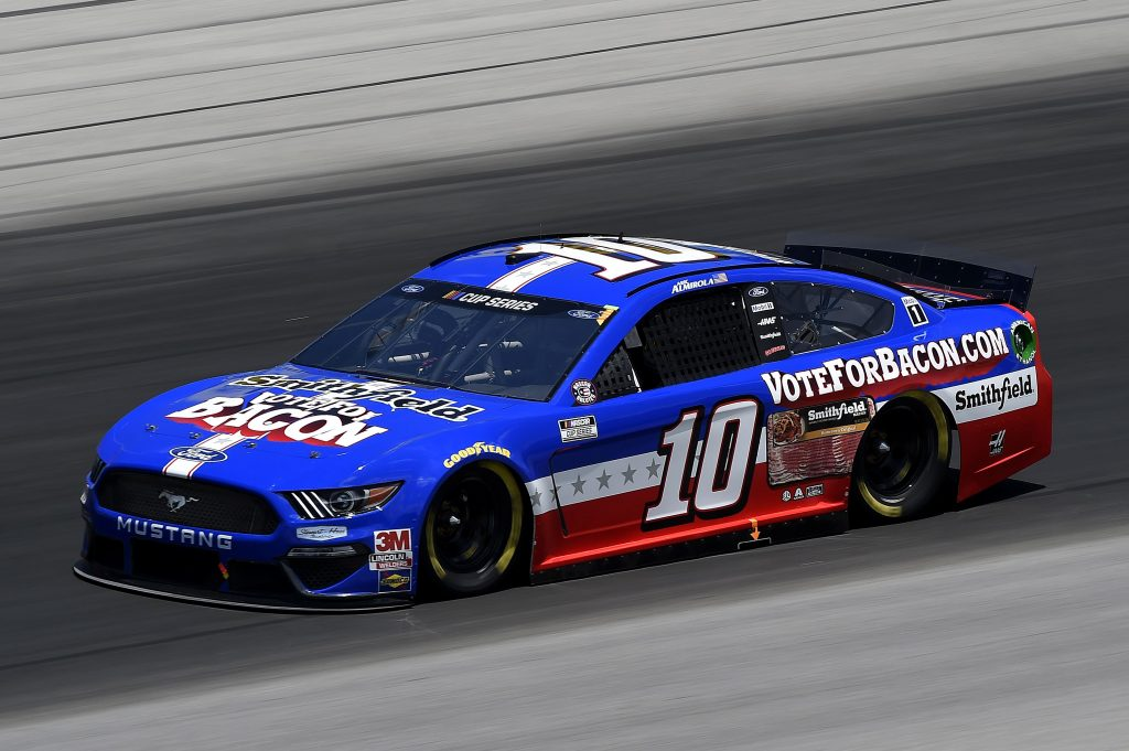 SPARTA, KENTUCKY - JULY 12: Aric Almirola, driver of the #10 Smithfield Vote For Bacon Ford, drives during the NASCAR Cup Series Quaker State 400 Presented by Walmart at Kentucky Speedway on July 12, 2020 in Sparta, Kentucky. (Photo by Jared C. Tilton/Getty Images) | Getty Images
