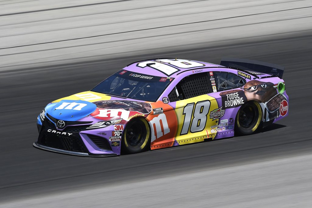 SPARTA, KENTUCKY - JULY 12: Kyle Busch, driver of the #18 M&M's Fudge Brownie Toyota, drives during the NASCAR Cup Series Quaker State 400 Presented by Walmart at Kentucky Speedway on July 12, 2020 in Sparta, Kentucky. (Photo by Jared C. Tilton/Getty Images) | Getty Images