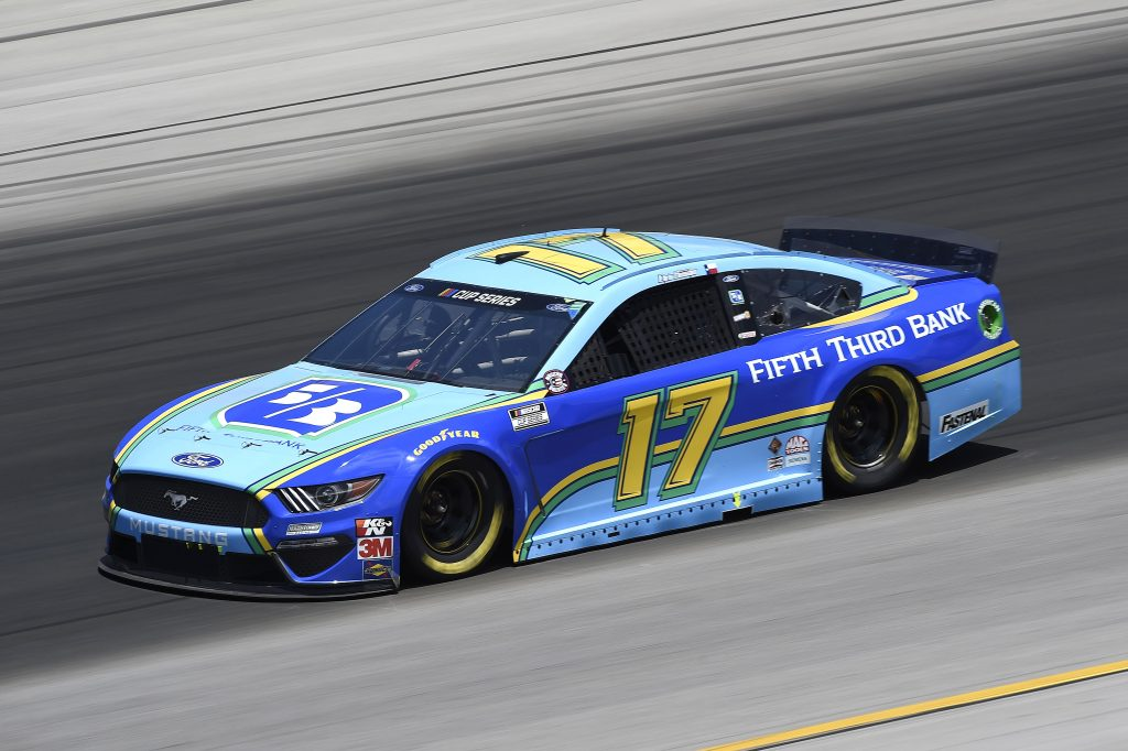 SPARTA, KENTUCKY - JULY 12: Chris Buescher, driver of the #17 Fifth Third Bank Ford, drives during the NASCAR Cup Series Quaker State 400 Presented by Walmart at Kentucky Speedway on July 12, 2020 in Sparta, Kentucky. (Photo by Jared C. Tilton/Getty Images) | Getty Images