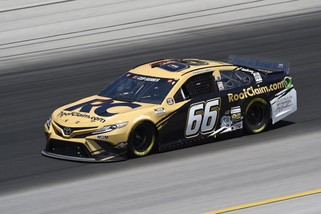 SPARTA, KENTUCKY - JULY 12: Timmy Hill, driver of the #66 RoofClaim.com Toyota, drives during the NASCAR Cup Series Quaker State 400 Presented by Walmart at Kentucky Speedway on July 12, 2020 in Sparta, Kentucky. (Photo by Jared C. Tilton/Getty Images) | Getty Images