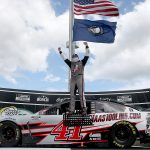 SPARTA, KENTUCKY - JULY 12: Cole Custer, driver of the #41 HaasTooling.com Ford, celebrates in Victory Lane after winning the NASCAR Cup Series Quaker State 400 Presented by Walmart at Kentucky Speedway on July 12, 2020 in Sparta, Kentucky. (Photo by Jared C. Tilton/Getty Images) | Getty Images