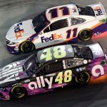 BRISTOL, TENNESSEE - JULY 15: Jimmie Johnson, driver of the #48 Ally Chevrolet, race Denny Hamlin, driver of the #11 FedEx Ground Toyota, during the NASCAR Cup Series All-Star Race at Bristol Motor Speedway on July 15, 2020 in Bristol, Tennessee. (Photo by Jared C. Tilton/Getty Images) | Getty Images